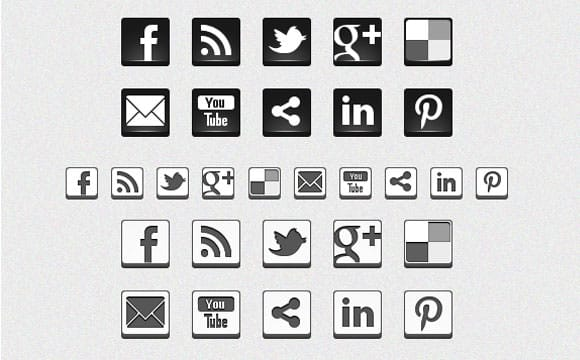 Freebies: Black & White 3D Social Icons