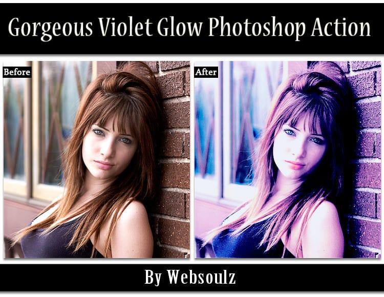 Gorgeous Violet Glow Photoshop Action