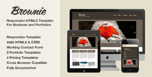 Free Responsive HTML5 Portfolio / Business Website Template: Brownie