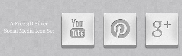 A Free 3D Silver Social Media Icon Set