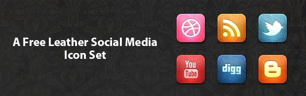 A Free Leather Social Media Icon Set