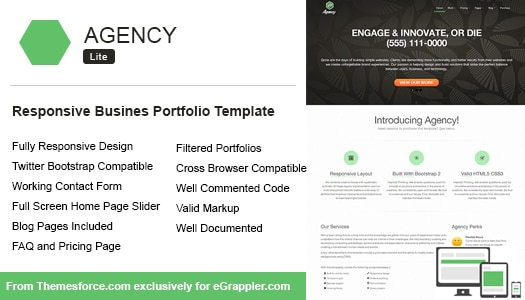 Responsive Business Portfolio Template Built Using Twitter Bootstrap: Agency