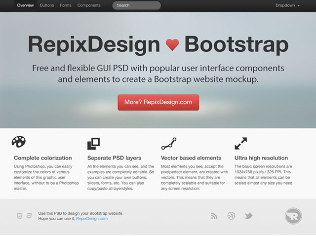 Twitter Bootstrap GUI & Wireframe Toolbox