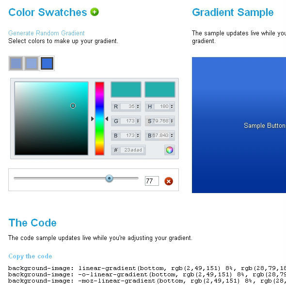 18 Useful CSS3 Gradient Generator Tools