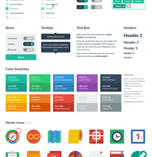 Flat Style UI Kit with PSD and HTML Format