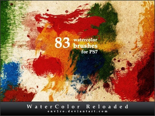 45 Free Watercolor, Ink And Splatters Brushes For Photoshop