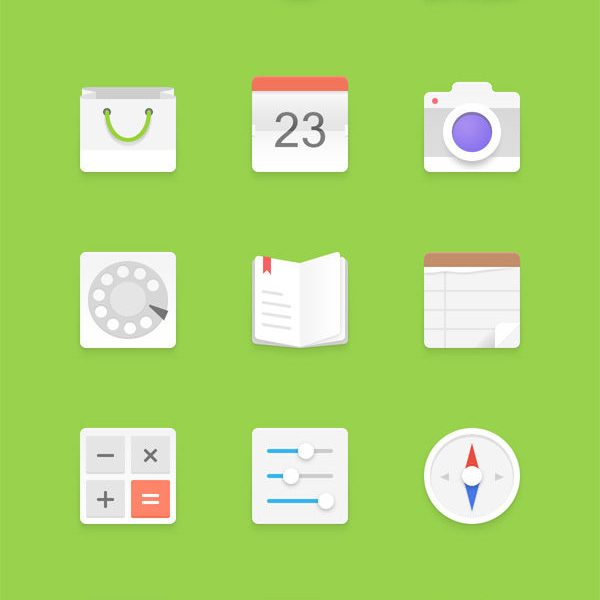 Free Light Android Icons Set