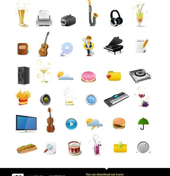 25 Best and Rocking Free Music Icon Packs