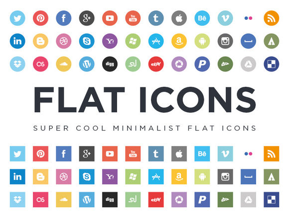 Free Minimalist Flat Design Social Media Icons