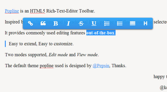 Popline: A Float Around HTML5 Text Editor Toolbar