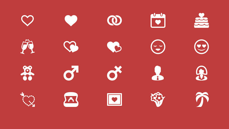 Freebie: 20 Elegant Love and Romance Glyph Icons