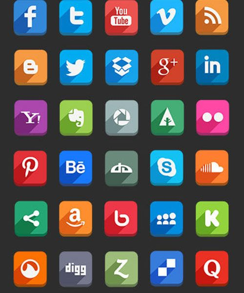 18 Beautiful Free Flat Social Media Icon Sets