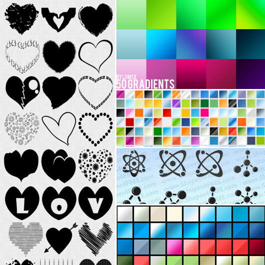 Cool Photoshop custom shapes, gradients and styles