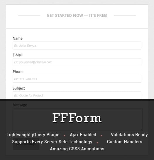 FFForm – Free jQuery Contact Form Plugin with Validations & Amazing CSS3 Animation