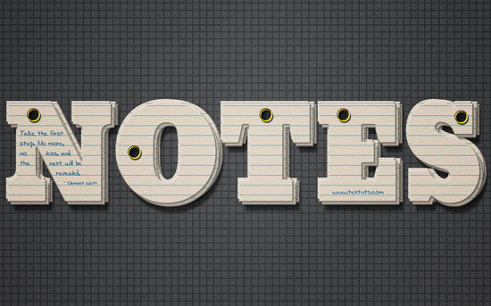 Note Cards Text Effect