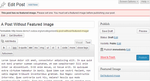 How to Require Featured Images for Posts in WordPress