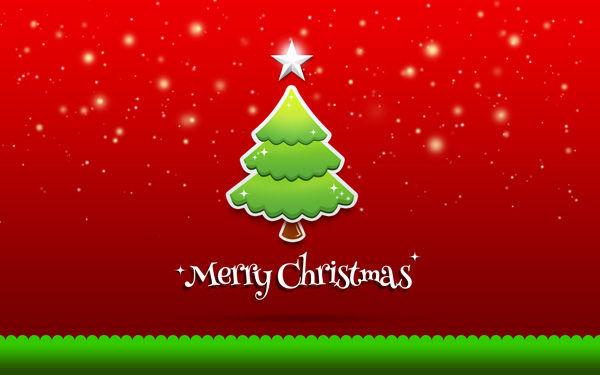 Christmas Greeting Card – Christmas inexperienced Tree on purple history in Adobe Photoshop CS6