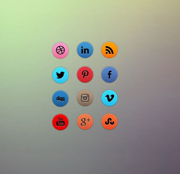 Awesome free round social media icon set