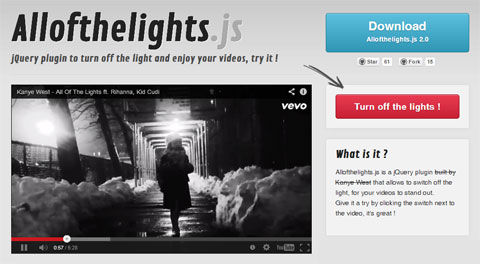 jQuery plugin to turn off the light and enjoy your video