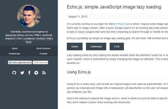 Echo.js, simple JavaScript image lazy loading