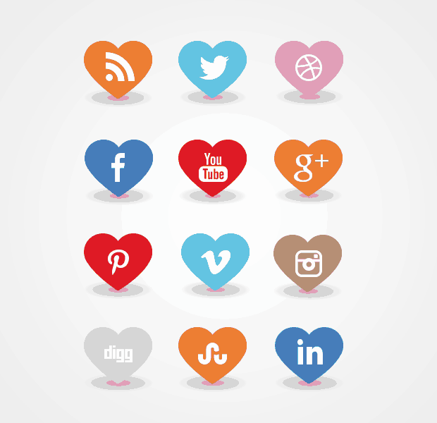Awesome free heart shaped social media icon set