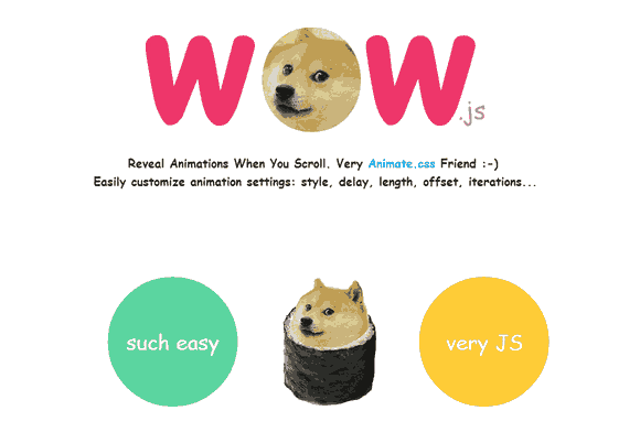 Reveal CSS animation as you scroll down a page – WOW.js