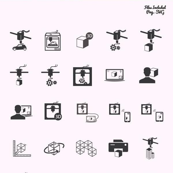 40 3D Printing Vector Icons