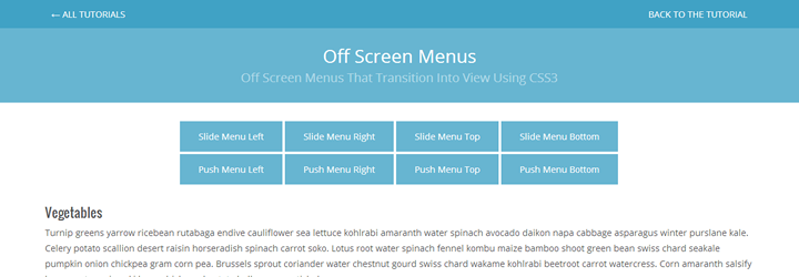 Slide And Push Menus With CSS3 Transitions