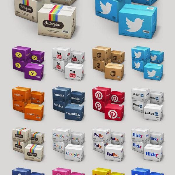 Set of Twitter Boxes and Social Icons for Free Download