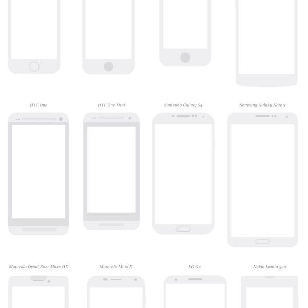 A free collection of popular phones, tablets and displays for product mockups