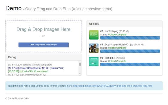 Drag and Drop jQuery File Uploader