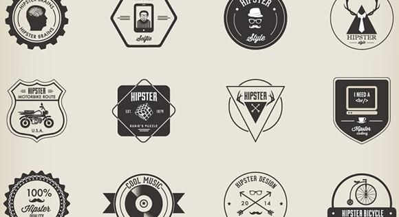 32 Hipster Badges (AI, EPS, PNG)