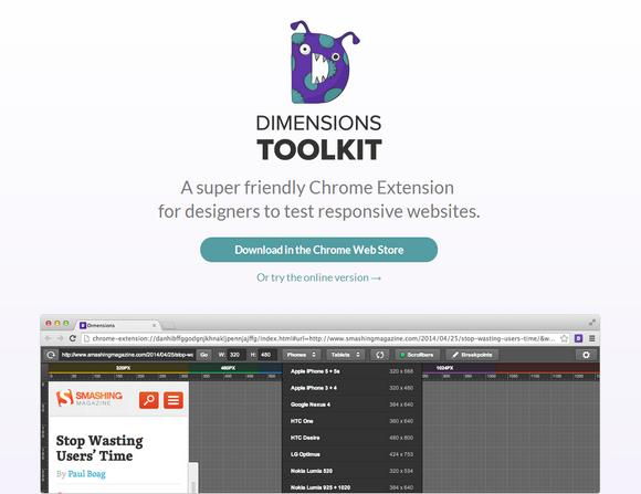 Test Responsive Websites with Chrome Extension Dimensions Toolkit