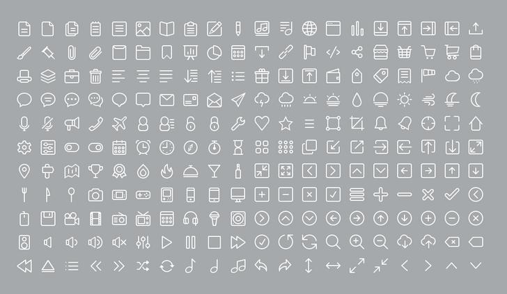 220 Line Icons in PSD structure