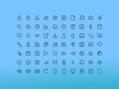 70 Line Icons (Free PSD)