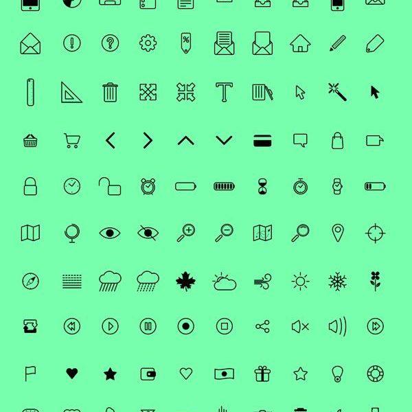 Free Pixel-perfect Icon Set (100 icons – PSD, AI, EPS, PDF)