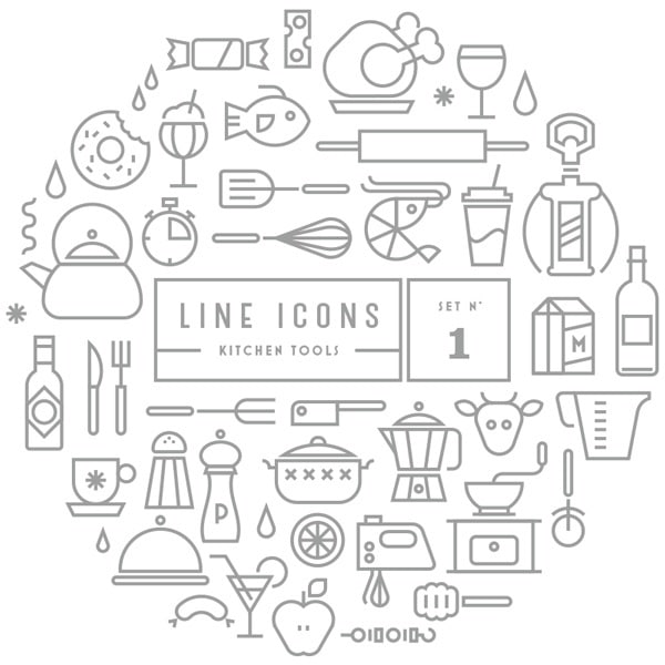 Line Icon Sets (outdoor,kitchen) – Free Download