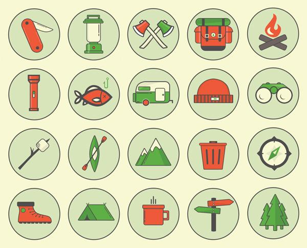 Free Download : Camping Outdoor Icons