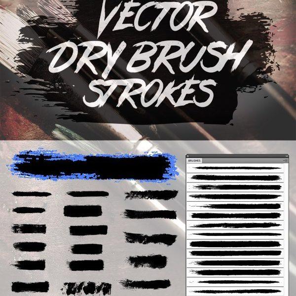 24 Free Vector Dry Brush Stroke Illustrator Brushes
