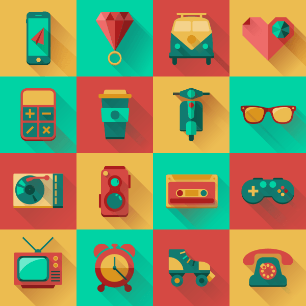 Flat Hipster Icons Design Pack – Free Download
