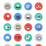 long-shadow-multimedia-icon-set