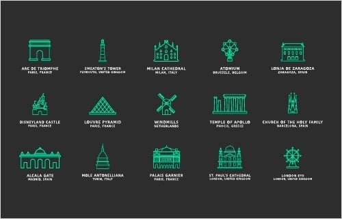 Freebie: Touristic Icons (100 Icons, PNG, SVG)