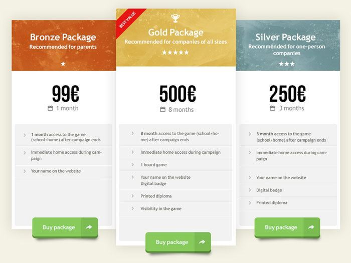 Inspiration For Designing A Pricing Table