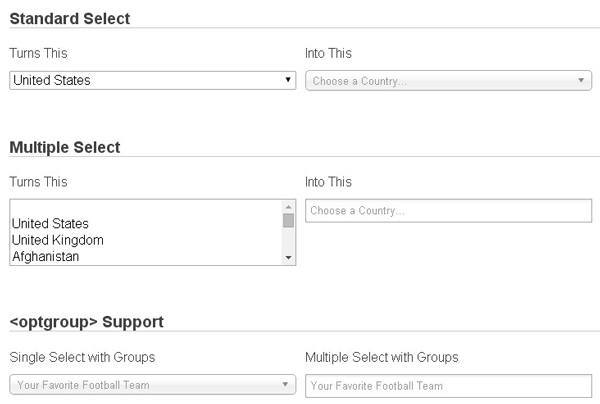 Chosen is a library for making long, unwieldy select boxes more user friendly