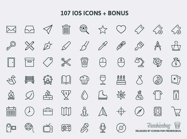 100+ free PSD icons for iOS