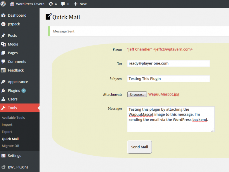 How to Send a Quick Email With an Attachment From The WordPress Admin