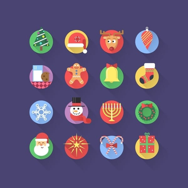 16 Fresh Flat Christmas Icons – PSD Free Download