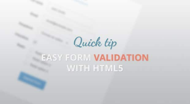 Quick Tip: Easy form validation with HTML5