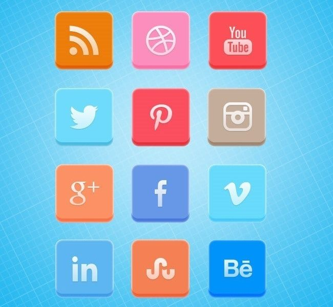 Soft curved 3D social media icon set