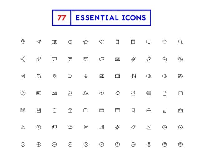 Free Download – 77 Minimal Outline Icons (PSD,SVG,AI,EPS,Icon,PNG,PDF)